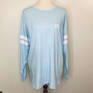 Pink Victoria Secret Cotton Varsity Blue Tee Top